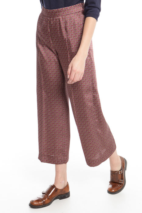 Pantalone cropped in twill stampato Fashion Market