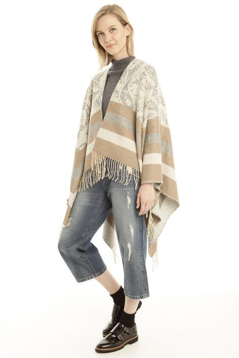 Poncho asimmetrico con frange Fashion Market