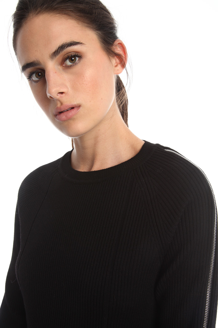 Maglia a coste con zip Fashion Market