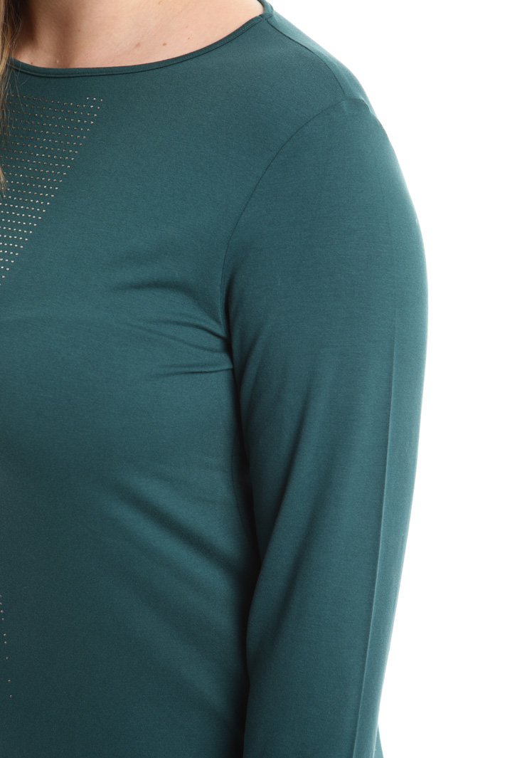 T-shirt in jersey con strass Fashion Market