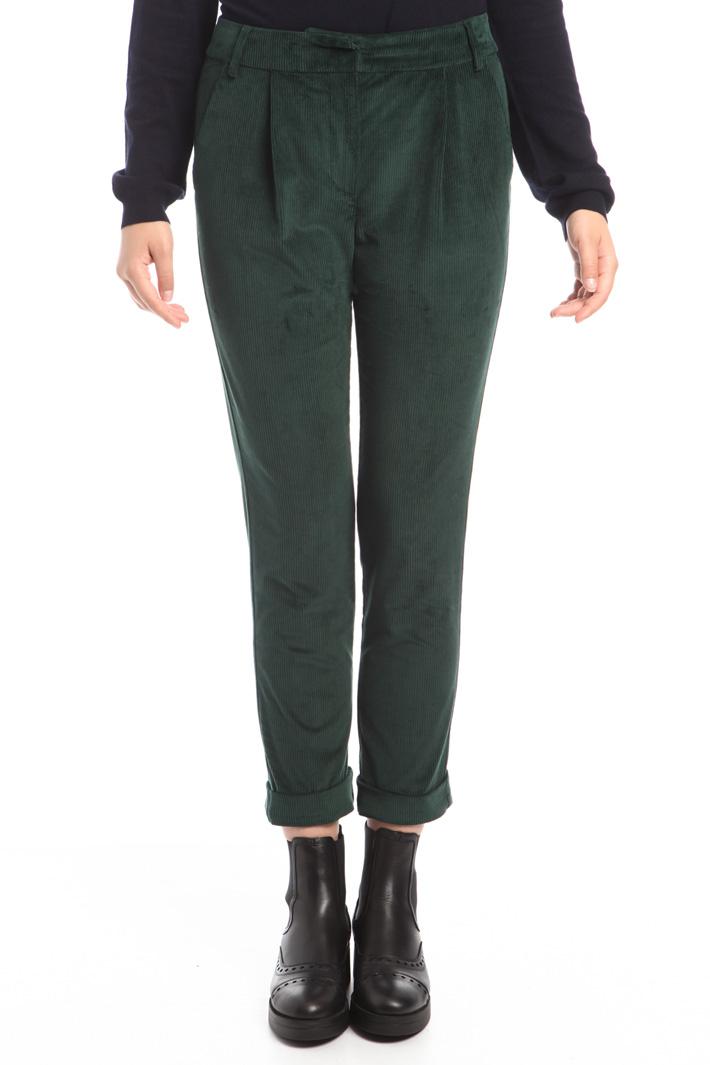 Pantaloni cropped in velluto Fashion Market