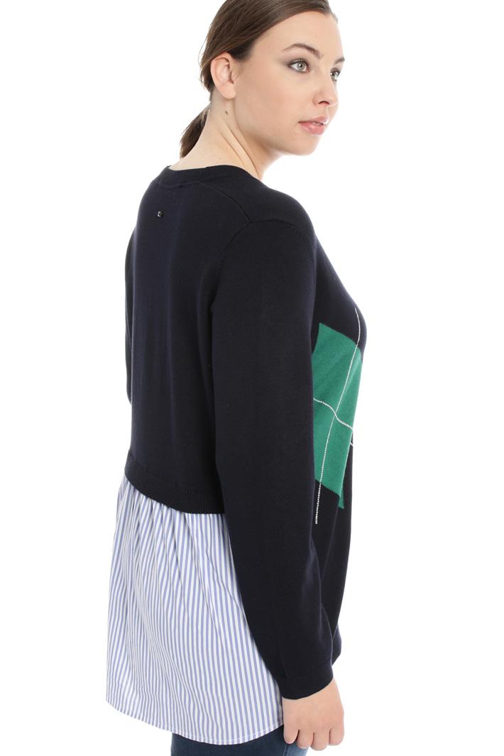 Cardigan con inserto tessuto Fashion Market