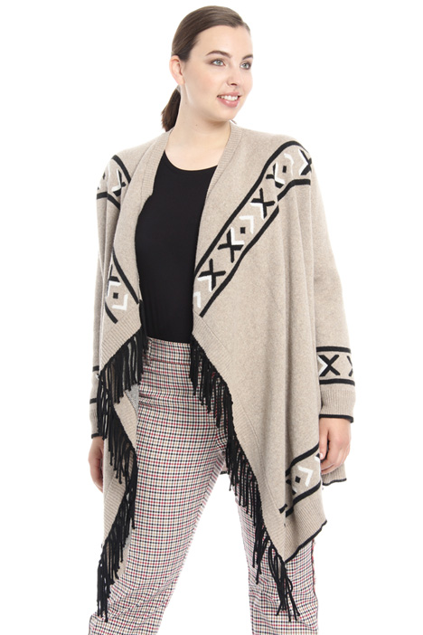Cardigan jacquard con frange Fashion Market