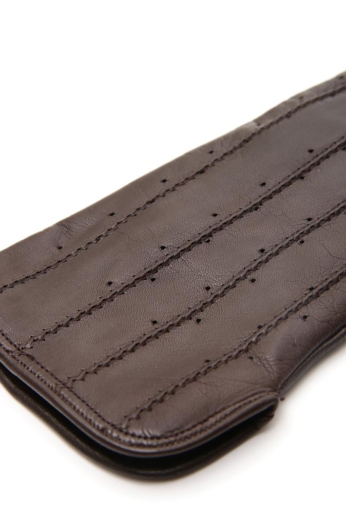 Guanti con impunture in pelle Fashion Market