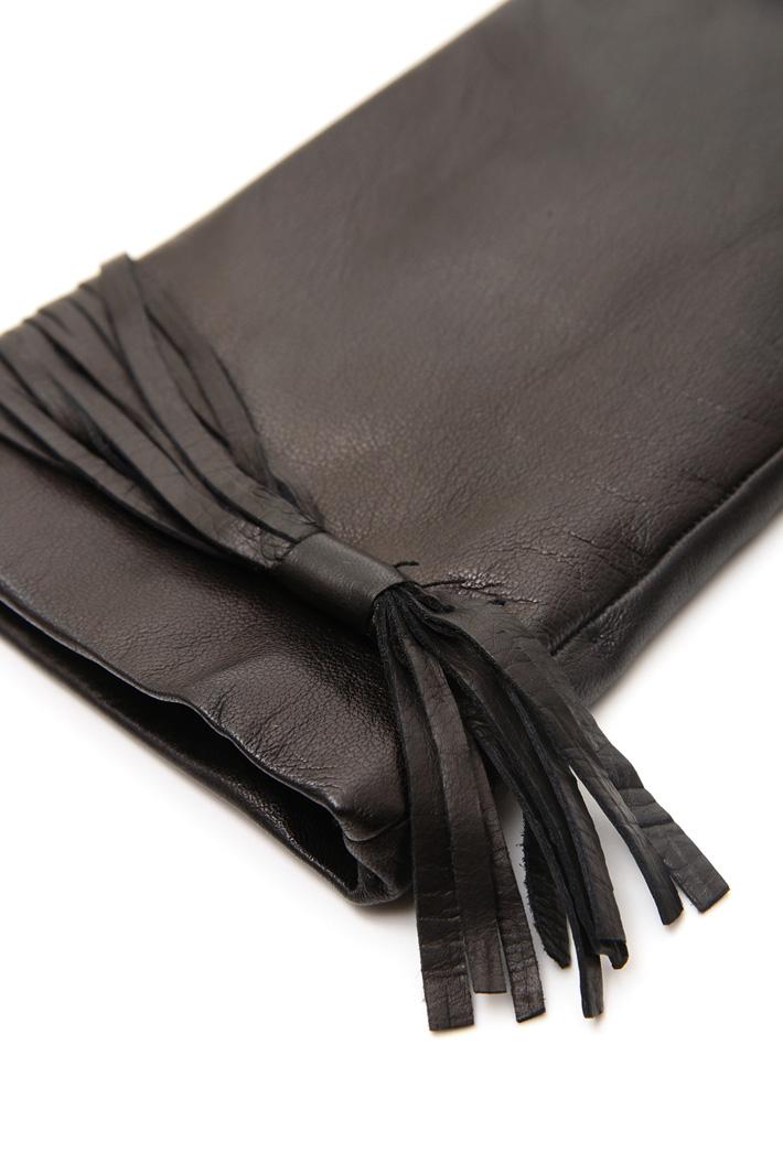 Guanti in pelle con frangia Fashion Market
