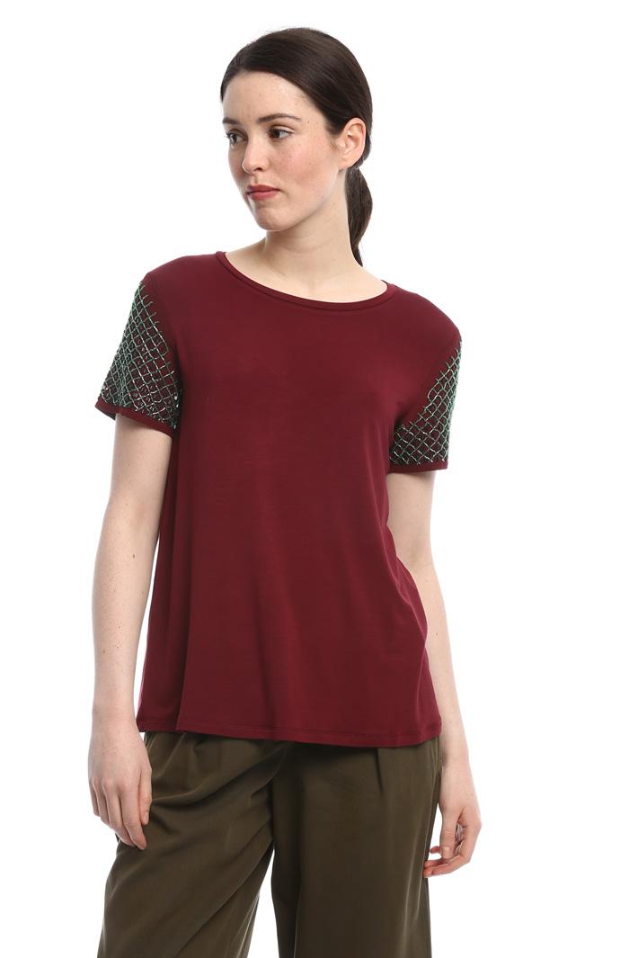 T-shirt con maniche ricamate Fashion Market