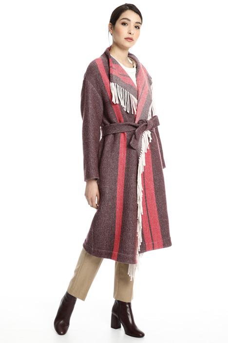 Cappotto in panno con frange Fashion Market