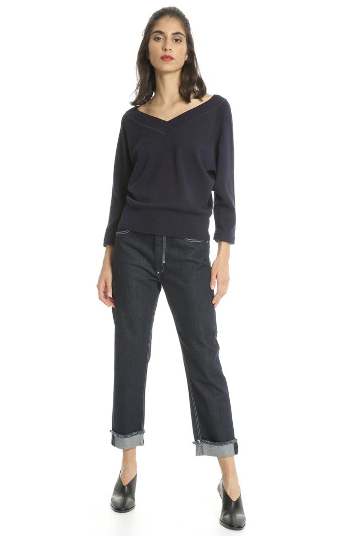 Jeans cropped in denim Fashion Market