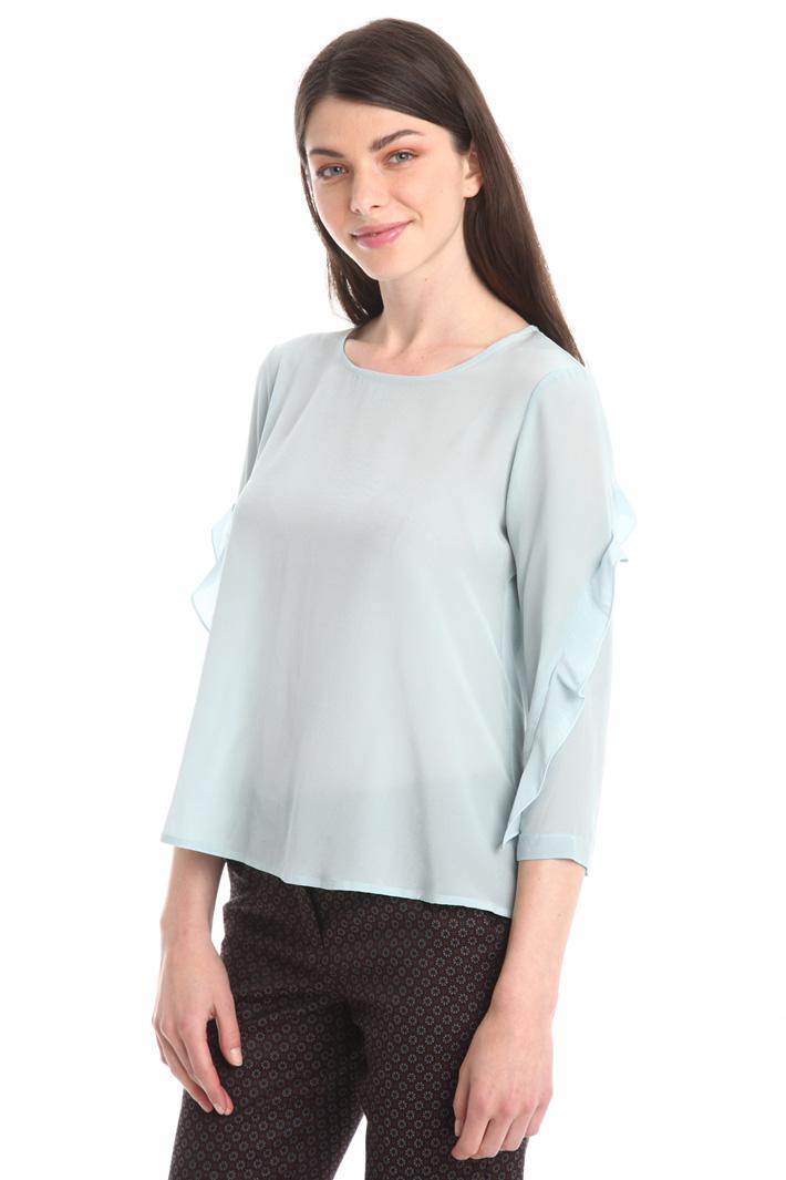 T-shirt bitessuto con volant Fashion Market