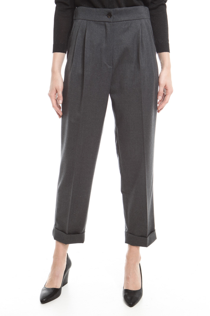 Pantaloni a carota in flanella Fashion Market