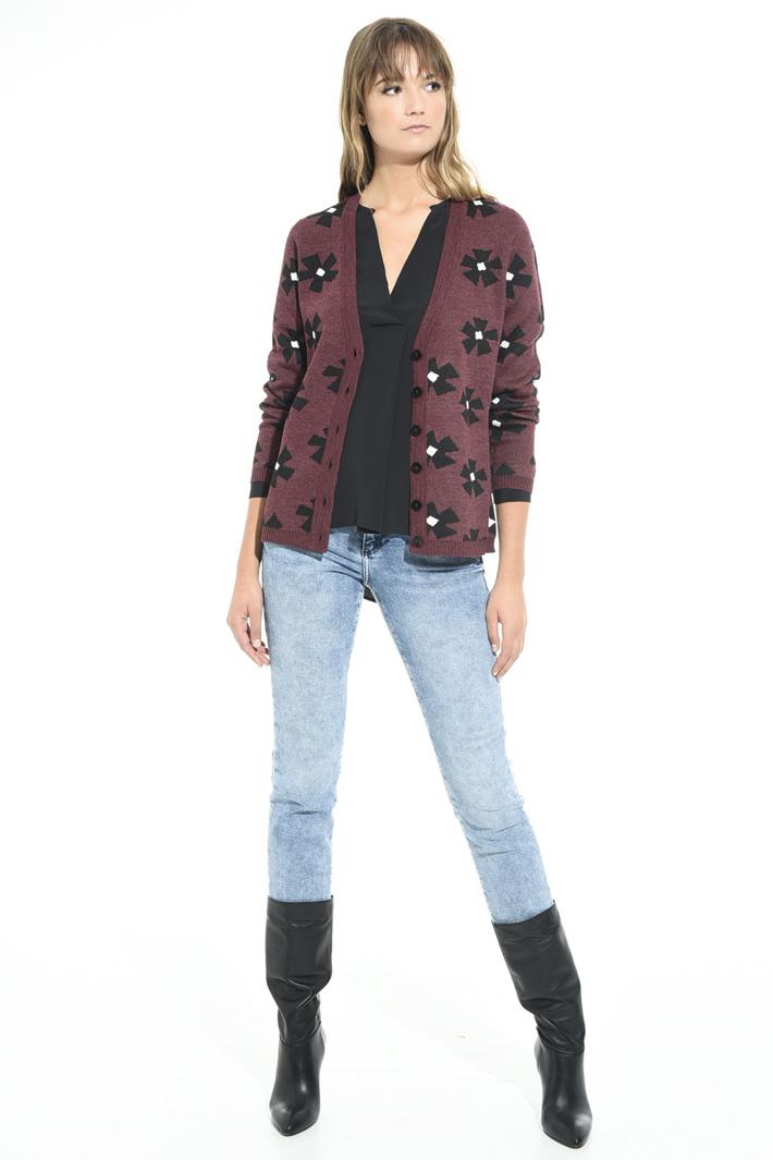 Cardigan over jacquard Fashion Market