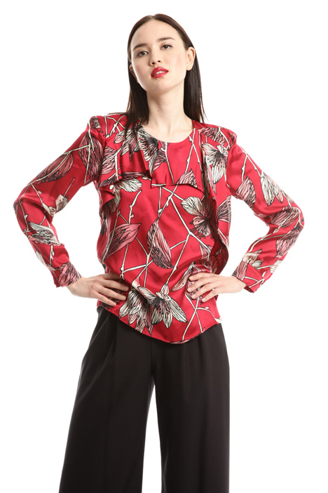 Blusa in twill con volant Fashion Market