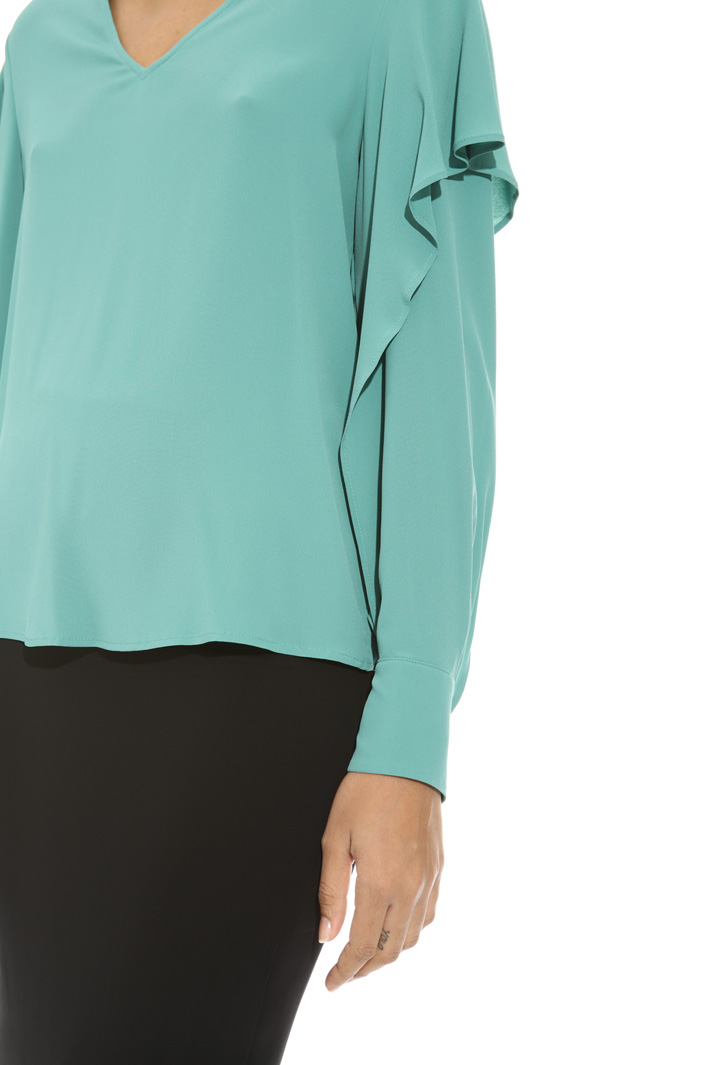 Blusa in crepe con volant Fashion Market