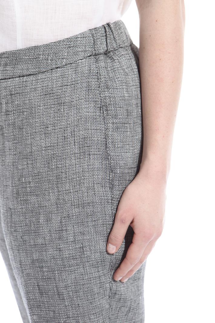 Pantaloni in lino tinto filo Fashion Market