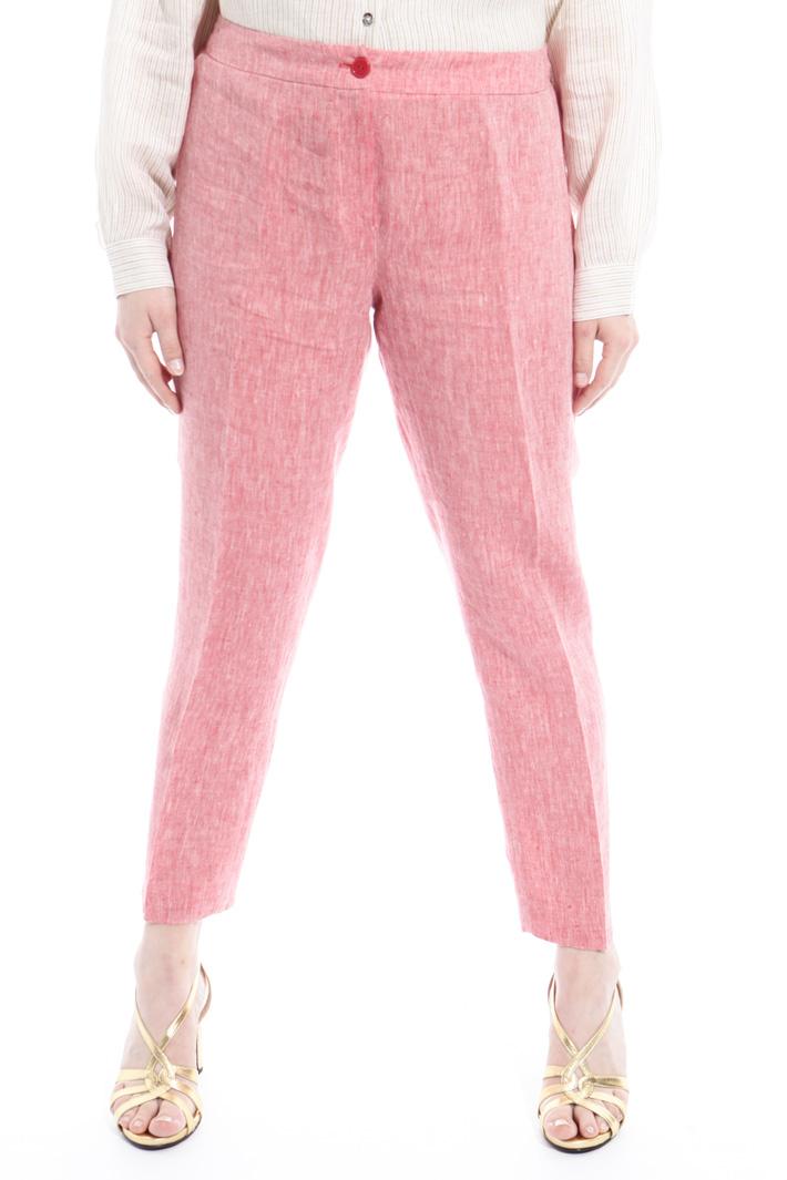 Pantalone in lino fiammato Fashion Market