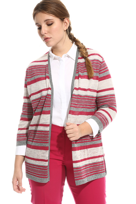Cardigan in lino a righe Fashion Market