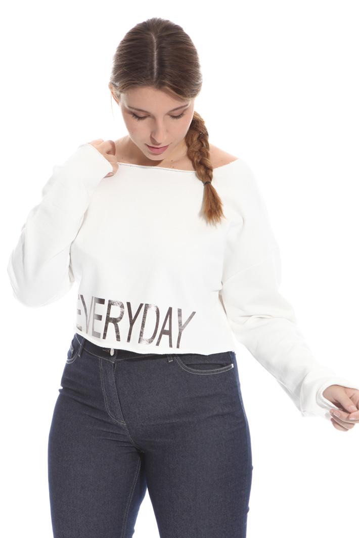 Felpa cropped in cotone Fashion Market