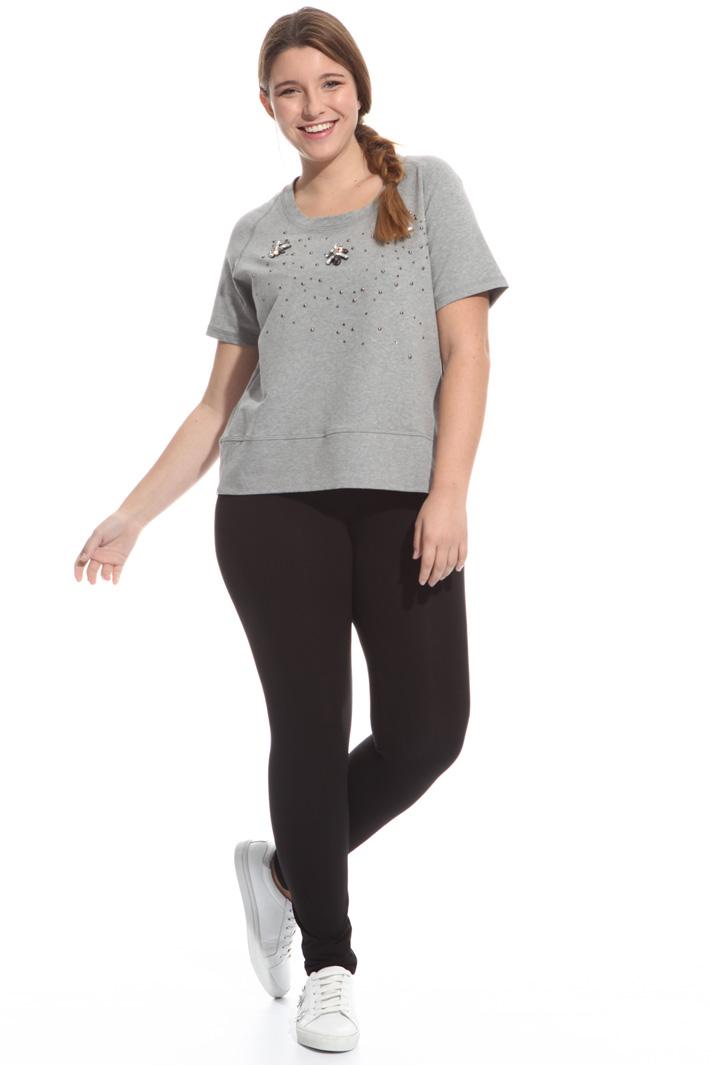 T-shirt in felpata con strass Fashion Market