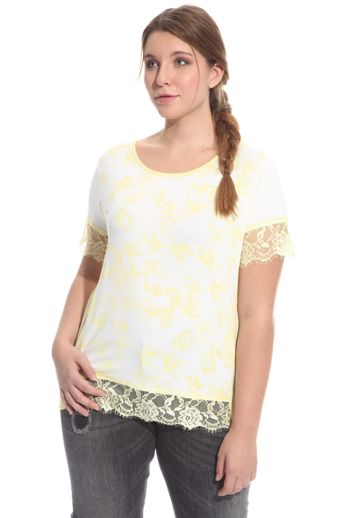 T-shirt con maniche in pizzo Fashion Market
