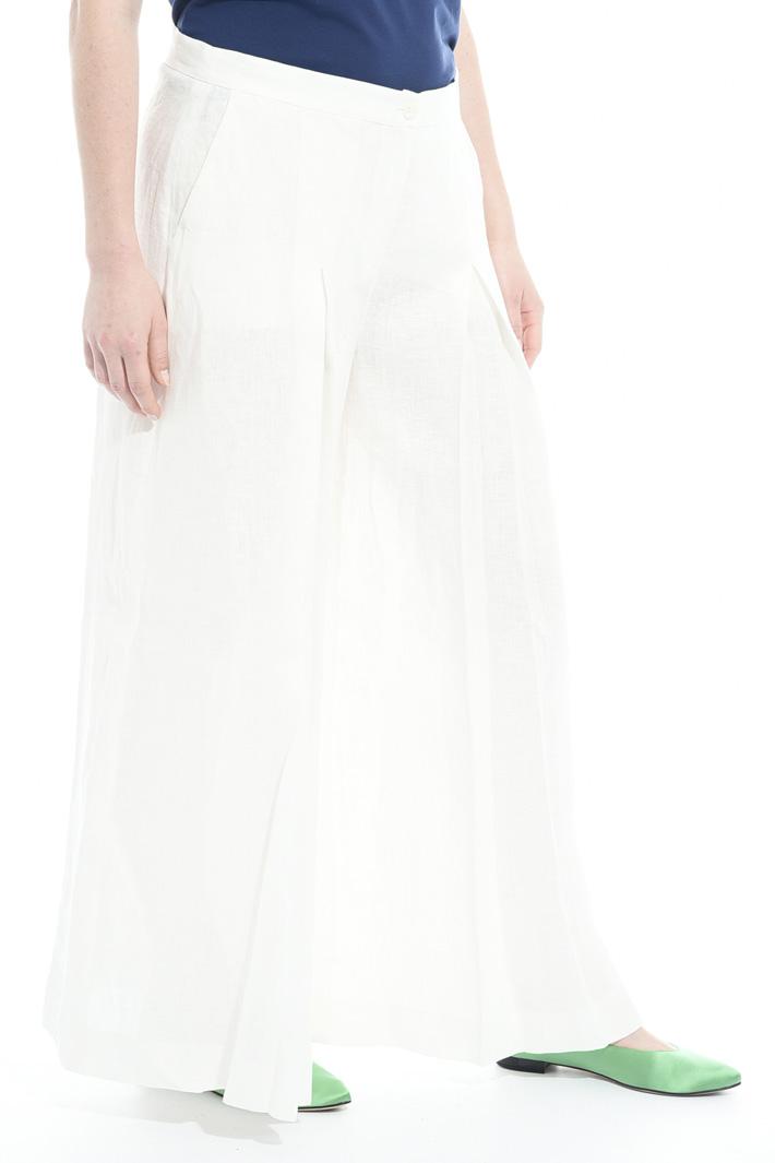 Pantalone in lino con pieghe Fashion Market