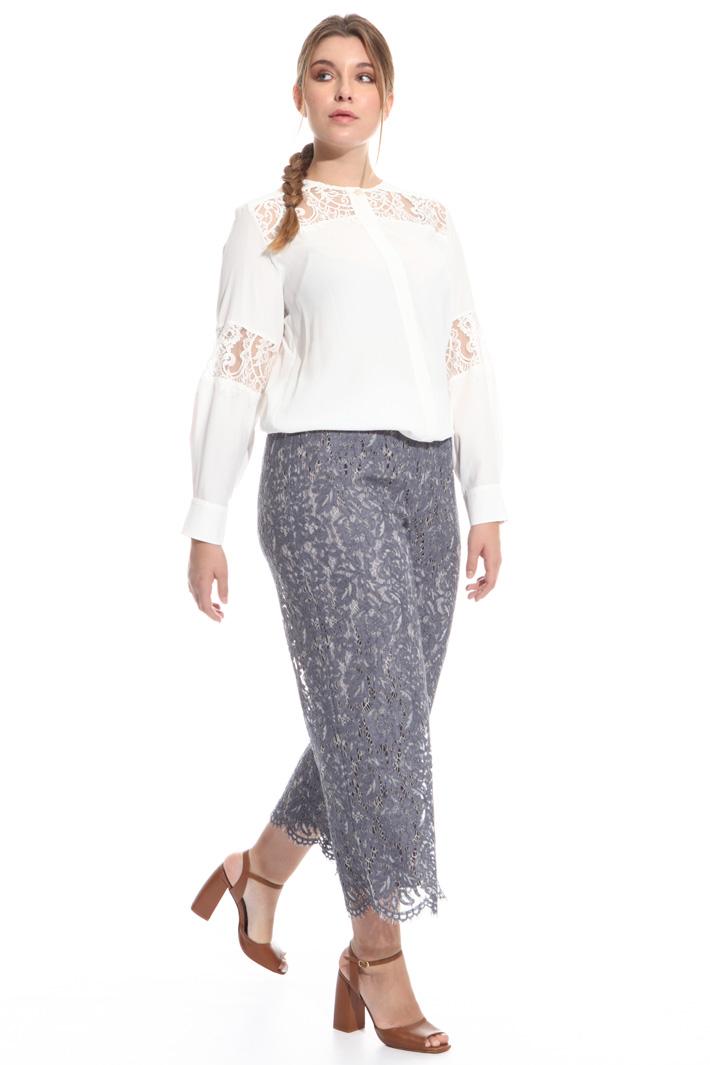 Pantaloni cropped in pizzo  Fashion Market