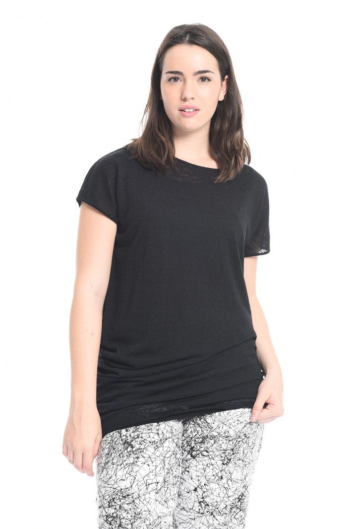 Maglia asimmetrica in lino  Fashion Market