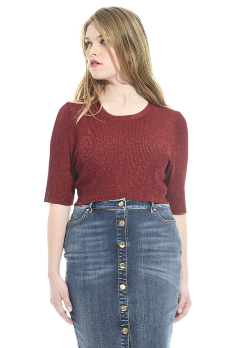 Top cropped in maglia lamé Fashion Market