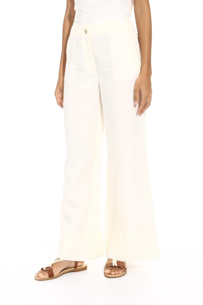 Pantalone ampio in misto lino Fashion Market