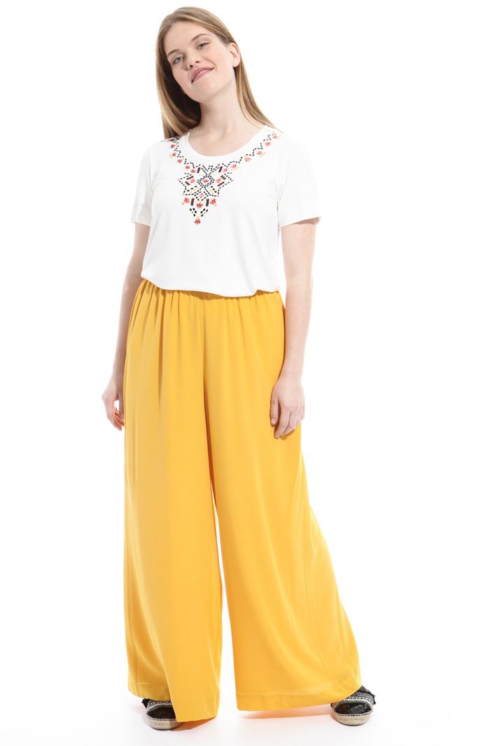 Pantaloni in crepe de chine Fashion Market
