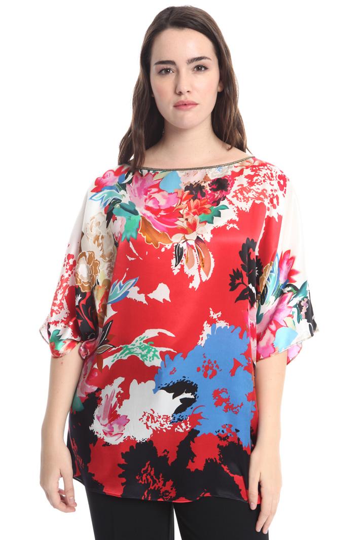 Blusa in raso di seta stampato Fashion Market