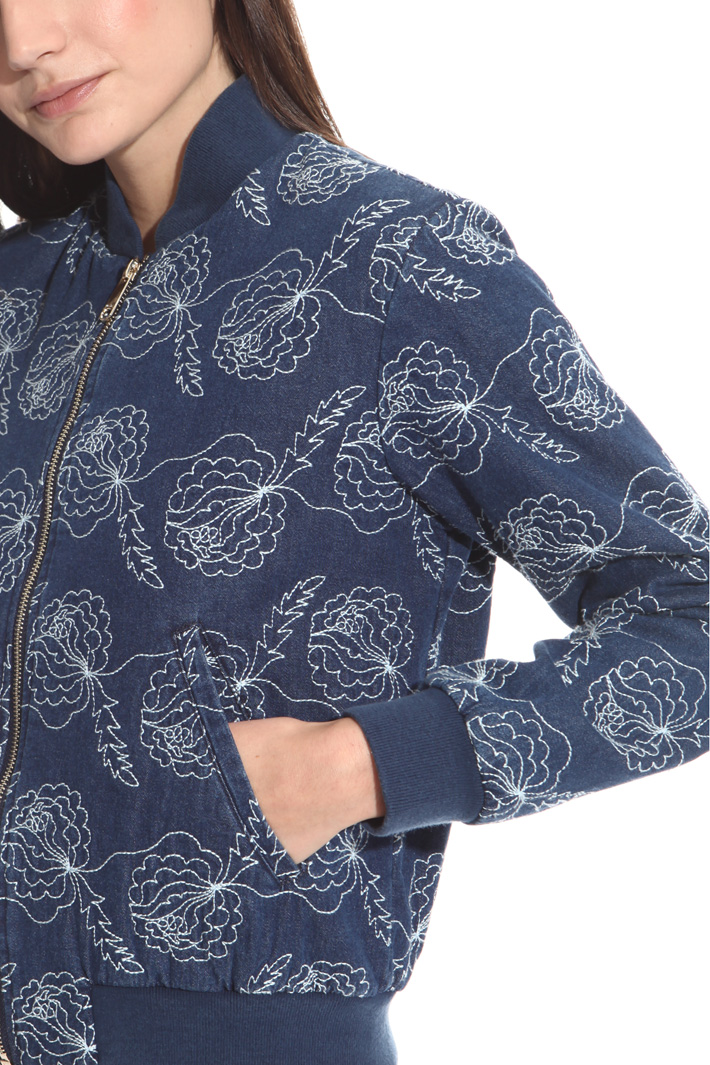 Bomber in denim con ricamo Fashion Market