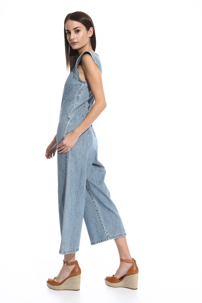 Tuta cropped in denim Fashion Market
