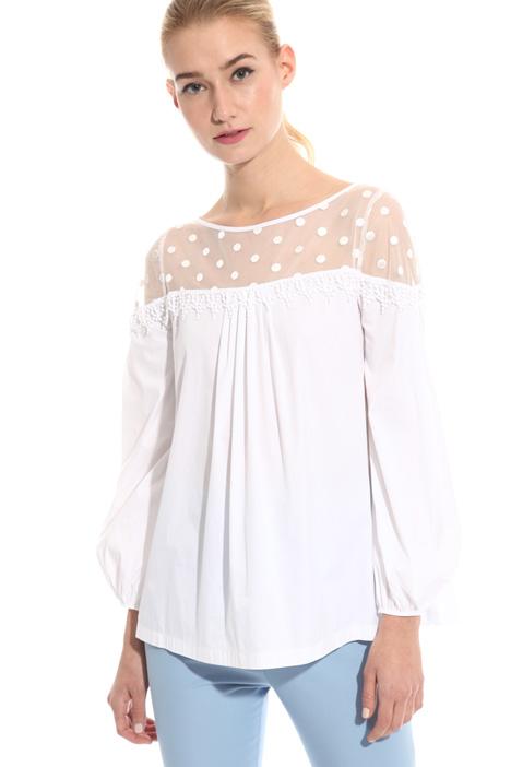 Blusa in popeline e tulle Fashion Market