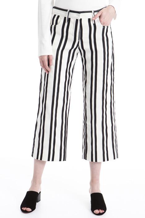 Pantalone in misto lino rigato Fashion Market
