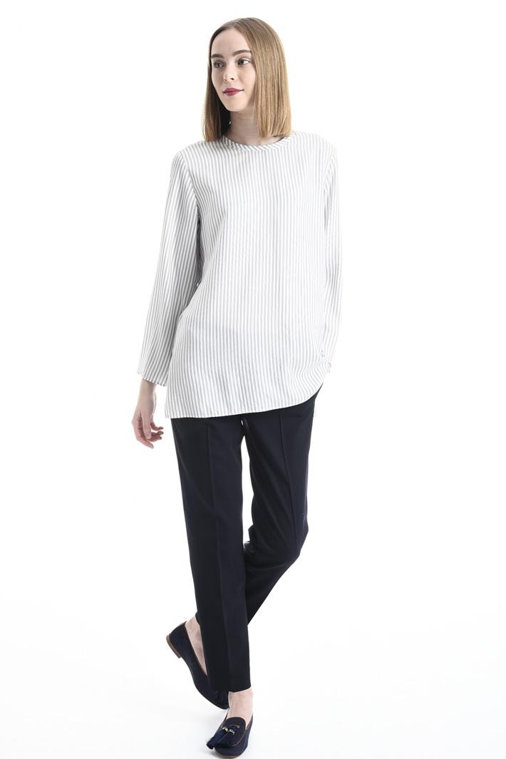 Blusa in seta stampata a righe Fashion Market