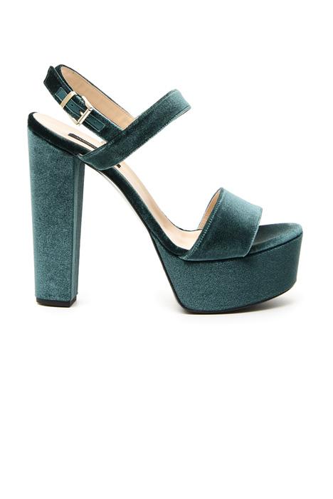 Sandalo in velluto con plateau Fashion Market